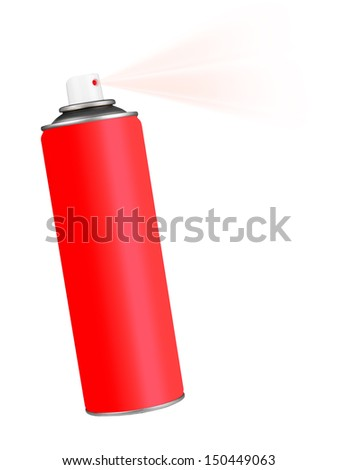 Red spray paint or domestic chemical - white background