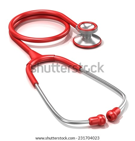 Red stethoscope, 3D render illustration, isolated on a white background