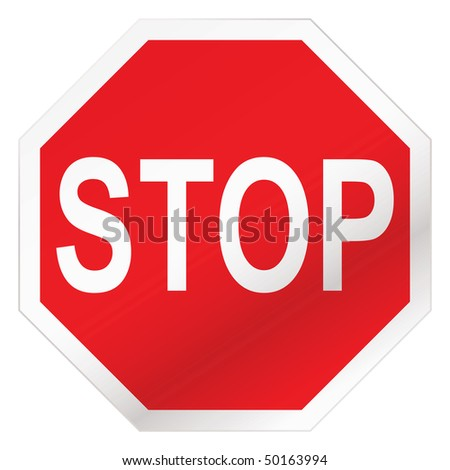 Red stop road sign illustration with white background