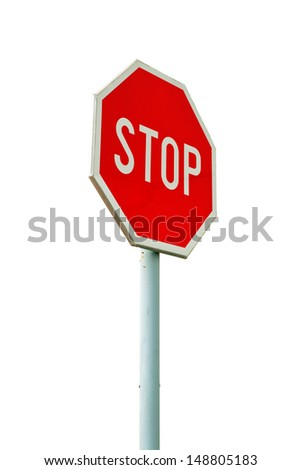 Red stop sign on the street, roadside traffic sign for stopping isolated on white background