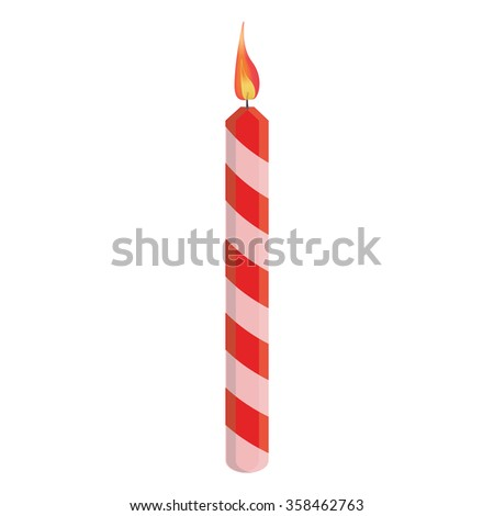 Red striped birthday candle with flame raster illustration.