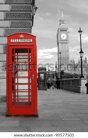 red  telephone in London, Big Ben