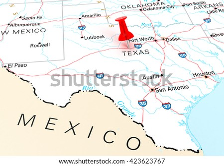 Red Thumbtack Over Texas State Usa Stock Illustration - Texas state map cities