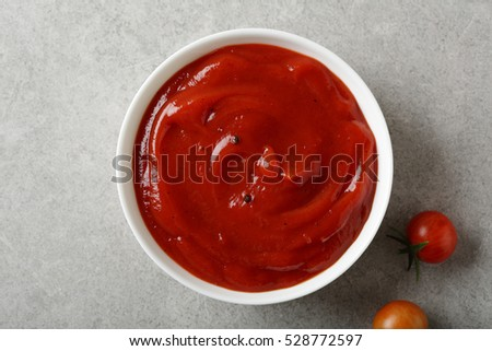 Red tomato vegetables sauce, food top view
