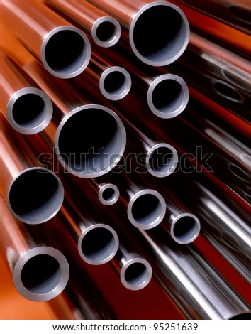 Red tubes pile