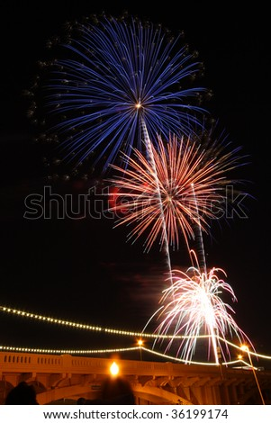 Red, white and blue fireworks in the night sky