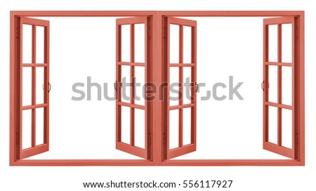 red window frame isolated on white
