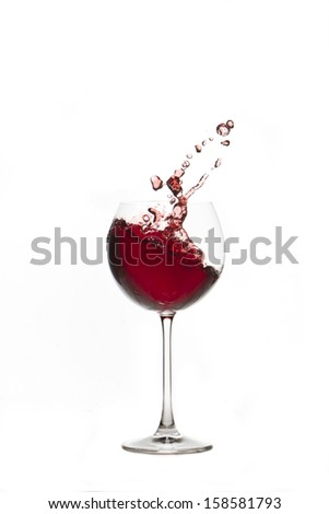 Red wine splash Glass