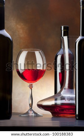 red wine with glass and decanter