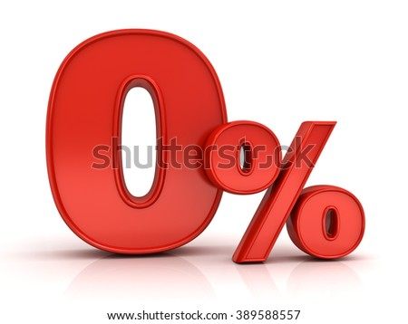 Red zero percent or 0 % isolated over white background with reflection