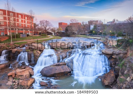 Reedy river waterfalls run through the middle of downtown for Fishing in greenville sc
