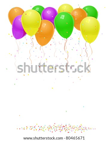 reen orange yellow purple balloons with flying confetti birthday background JPEG
