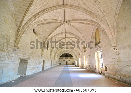 Refectory room in a renaissance abbey with vaulted stone ceiling