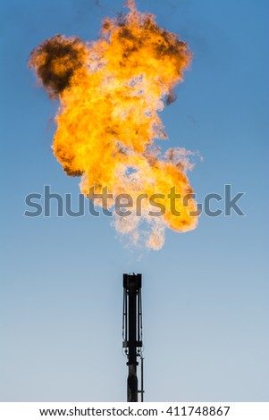 Refinery flare- Flaring of dangerous gases in oilfield
