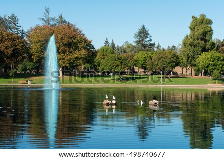 Reflecting pool and fountain, Sunnyvale Community Center, Sunnyvale, California