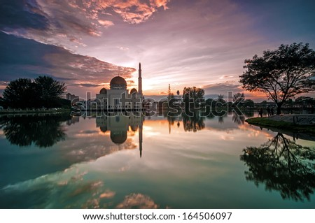 Reflection of As Salam Mosque during sunrise in Puchong Selangor, Malaysia