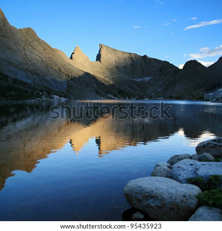 Reflection of Steeple Peak and East Temple Peak in Deep Lake, Wind River Mountain Range, Wyoming
