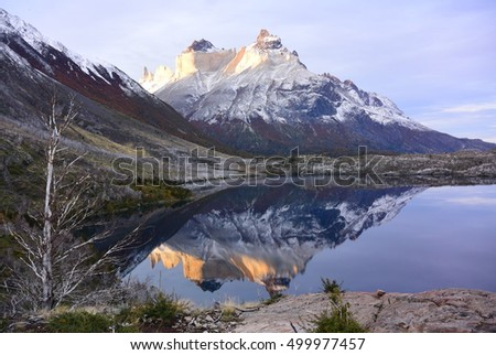Reflexion of a mountain in the national park of Torres del Paine in Chile