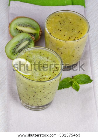 Refreshing cocktail of kiwi and mint