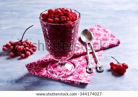 Refreshing cold dessert of frozen fruit. Selective focus.