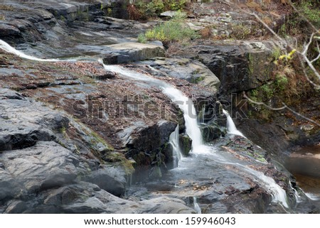 Refreshing  side waterfall, from High Falls on Town Creek in Alabama, southeastern USA