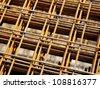 Reinforcing bar mesh - stock photo