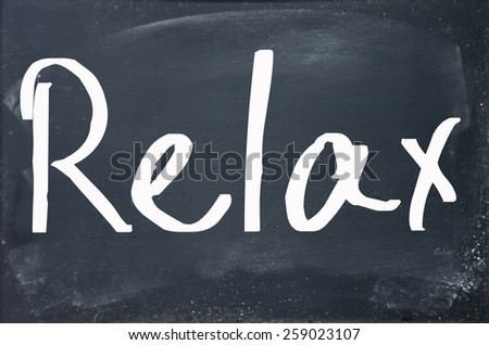 relax word write on paper
