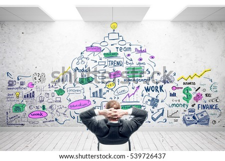 Relaxing businessman in concrete room with colorful business sketch. Success concept. 3D Rendering