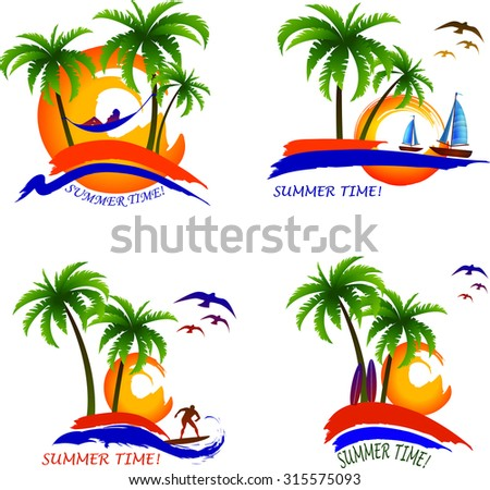 Relaxing On The Beach Summer Rest Illustrations Set Palms Hammock Boats