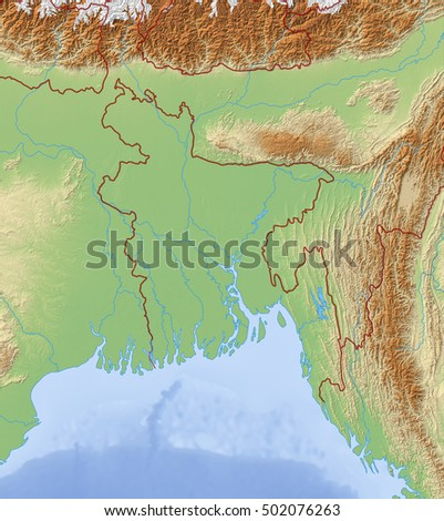 Relief Map of Bangladesh - 3D-Rendering