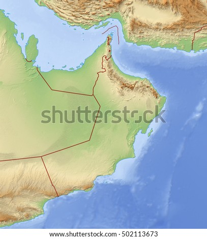 Relief Map of Oman - 3D-Rendering
