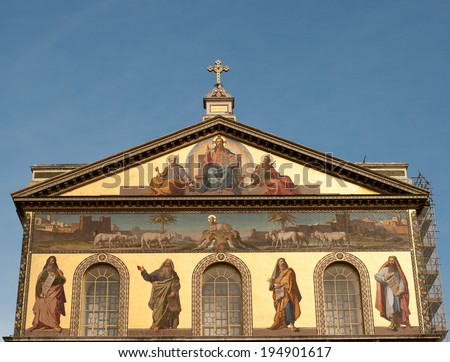 Religious Architecture. Basilica of Saint Paul Outside the Wall, Rome Italy.