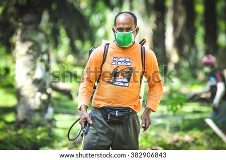 Rembau Malaysia Feb 28 2016 a man spraying pesticide at palm oil farm