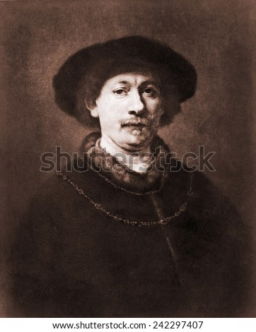 Rembrandt van Rijn (1606-1669). Engraving of 1643 self portrait.