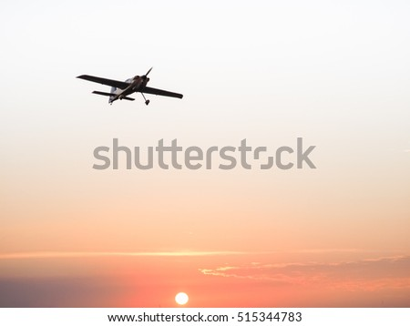 Remote control aircraft under sunlight