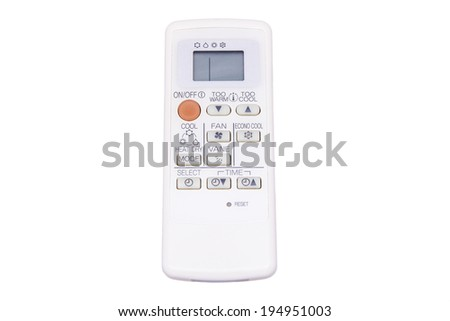 Remote control for air conditioner on white background