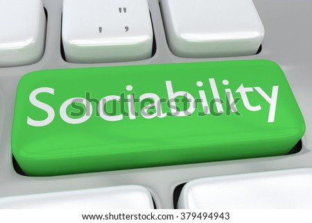 Render illustration of computer keyboard with the print Sociability on a green button
