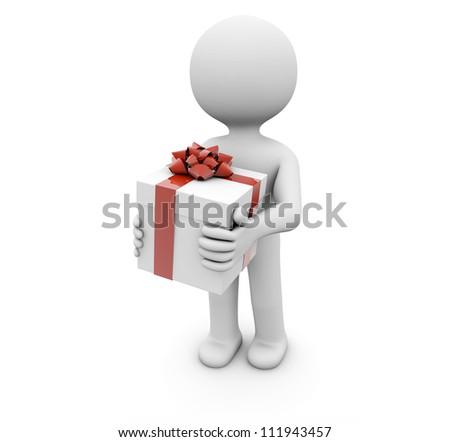 render of a man with a gift