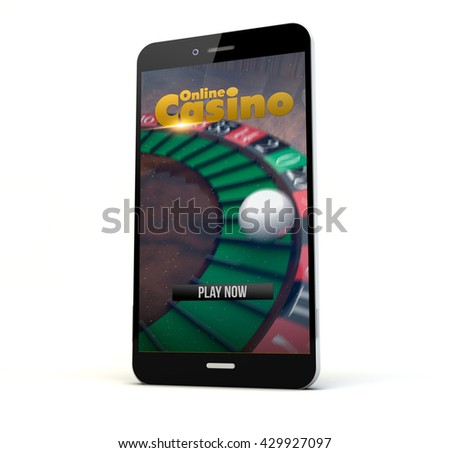 render of a phone with online casino on the screen isolated. Screen graphics are made up.