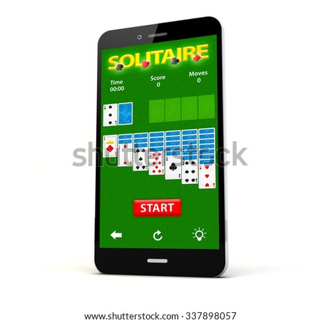 render of a phone with solitaire game on the screen isolated