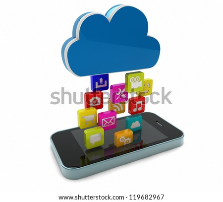 render of a smart phone downloading apps
