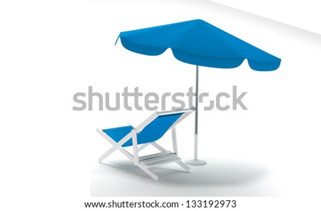 render of a summer umbrella with  deck chair on a white background