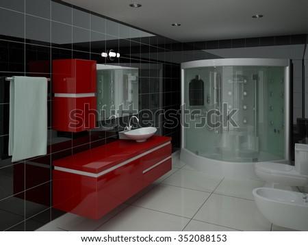 Rendering Of A Modern Luxurious Bathroom, 3d Rendering.