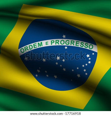 Rendering of a waving flag of Brazilian with accurate colors and design and a fabric texture in a square format.