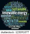 Renewable energy concept in word collage - stock vector