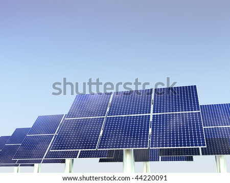 Renewable Energy - Solar Panels against clean blue sky background
