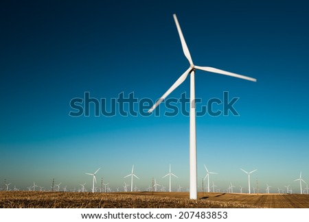 Renewable wind energy on a blue sky backgorund