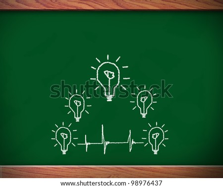 Replace light bulbs Many small ideas equal a big one on the blackboard.