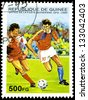 "Republic of Guinea - CIRCA 1995: A stamp printed in Republic of Guinea shows Football Players, without inscription, from the series ""World Cup Football Championship, France (1998)"", circa 1995 - stock photo"