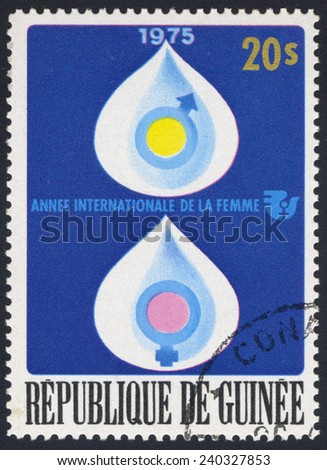 REPUBLIC OF GUINEA - CIRCA 1975: A stamp printed in Republic of Guinea, shows water drops, circa 1975